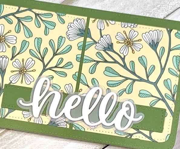 Hello in Spring, Dare 2B Artzy, Scripty Hello Die, Rectangle Slimline Framelits, Florals, Pattern Paper